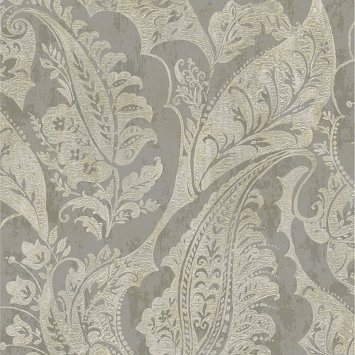 MK20008 Seabrook Wallcoverings Metallika Glisten Paisley Wallpaper Gray