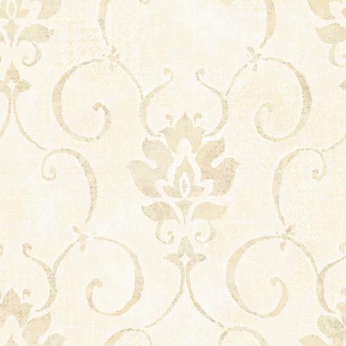 MK21505 Seabrook Wallcoverings Metallika Brilliant Damask Wallpaper Cream