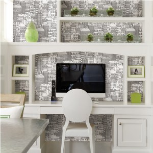Brewster Wallcoverings Eclipse Limelight City Wallpaper Roomset