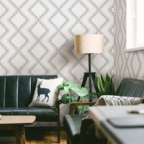 Brewster Wallcoverings Eclipse Mosaic Grid Wallpaper Roomset