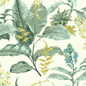 PS41804 Brewster Wallcoverings Kenneth James Palm Springs Maui Wallpaper Green
