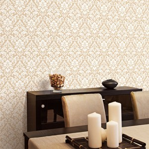 Patton Wallcoverings Stripes and Damasks 3 Folk Damask Wallpaper Roomset