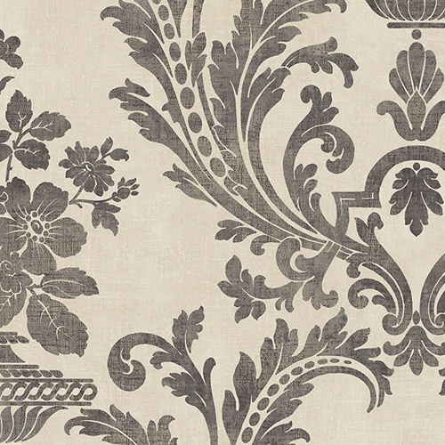 SD36152 Patton Wallcoverings Stripes and Damasks 3 Floral Urn Damask Wallpaper Charcoal