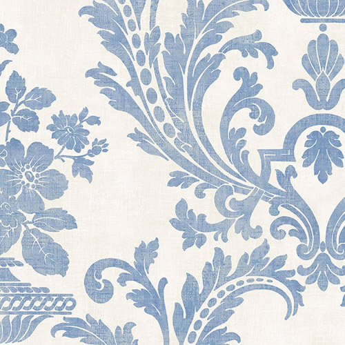 SD36153 Patton Wallcoverings Stripes and Damasks 3 Floral Urn Damask Wallpaper Blue