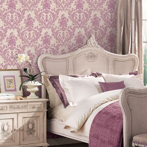 Patton Wallcoverings Stripes and Damasks 3 Floral Urn Damask Wallpaper Roomset