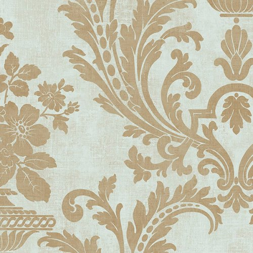 SD36155 Patton Wallcoverings Stripes and Damasks 3 Floral Urn Wallpaper Gold
