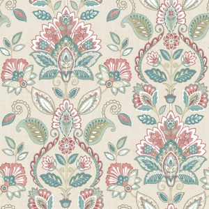 3112-002733 Brewster Wallcoverings Chesapeake Sage Hill Rayleigh Floral Damask Wallpaper Coral