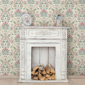 Brewster Wallcoverings Chesapeake Sage Hill Rayleigh Floral Damask Wallpaper Roomset