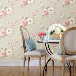 Brewster Wallcoverings Chesapeake Sage Hill Keighley Floral Wallpaper Roomset