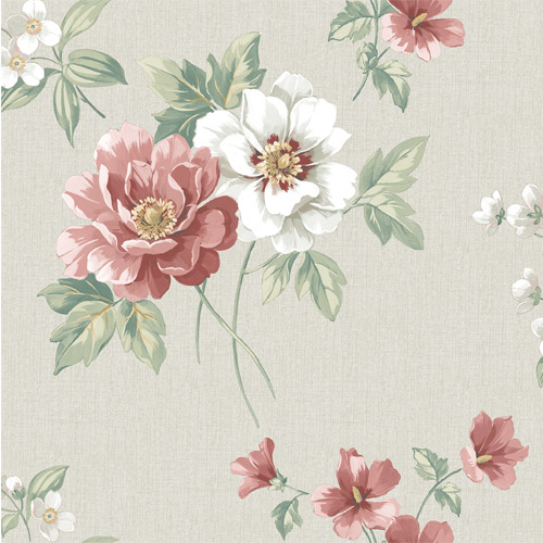 3112-002760 Brewster Wallcoverings Chesapeake Sage Hill Keighley Floral Wallpaper Red