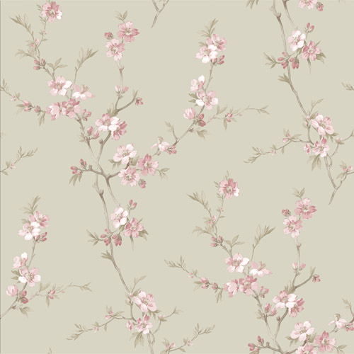 3112-002772 Brewster Wallcoverings Chesapeake Sage Hill Cherry Blossom Trail Wallpaper Pink