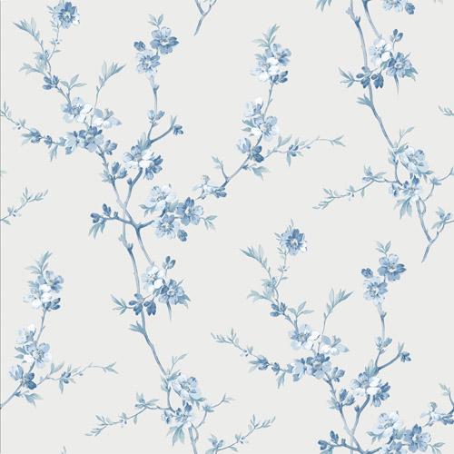 3112-002775 Brewster Wallcoverings Chesapeake Sage Hill Cherry Blossom Trail Wallpaper Light Blue
