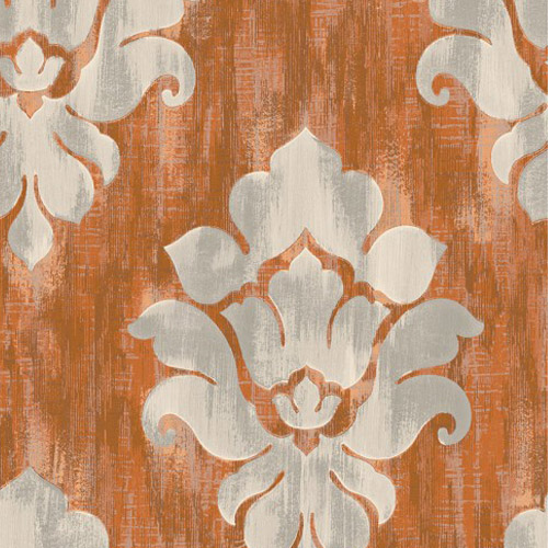 MC70106 Seabrook Wallcoverings Majorca Corsica Damask Wallpaper Orange
