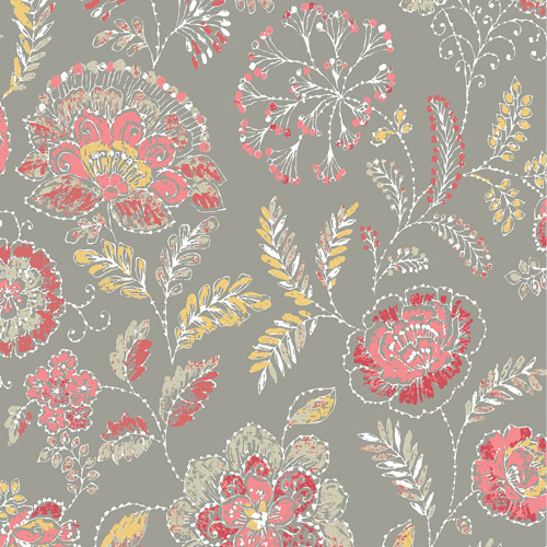 2744-24108 Brewster Wallcoverings Solstice Tropez Jacobean Wallpaper Coral