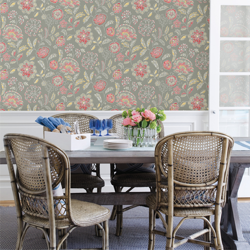 Brewster Wallcoverings Solstice Tropez Jacobean Wallpaper Roomset
