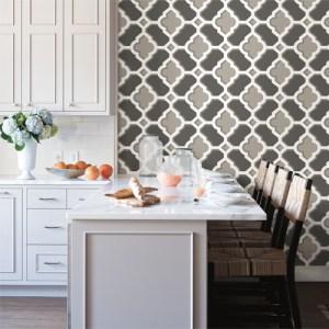 Brewster Wallcoverings Solstice Lido Quatrefoil Wallpaper Roomset