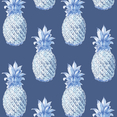 2744-24139 Brewster Wallcoverings Solstice Copacabana Pineapple Wallpaper Navy