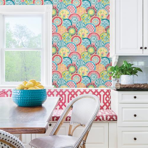 Brewster Wallcoverings Solstice Laguna Plate Wallpaper Roomset