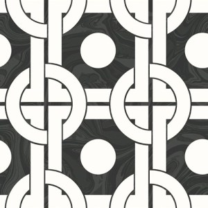 RL60800 Seabrook Wallcoverings Retro Living Mindy Wallpaper Black