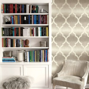 Seabrook Wallcoverings Montage Catamount Ogee Wallpaper Roomset