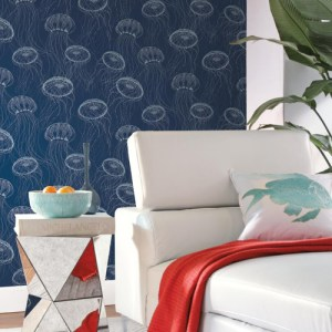 York Wallcoverings Carey Lind Coastal Calm Atolla Wallpaper Room Setting