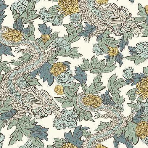 DR6301 York Wallcoverings Dwell Studio Ming Dragon Wallpaper White