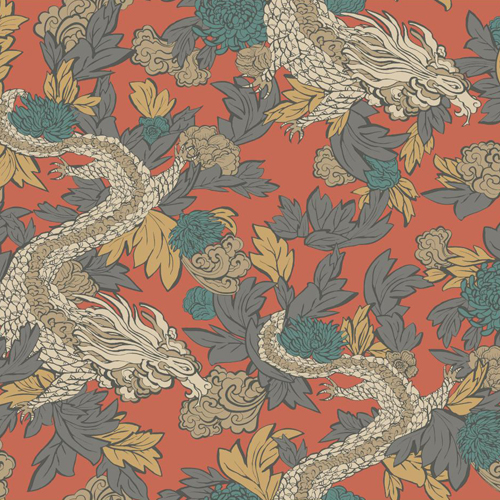 DR6300 York Wallcoverings Dwell Studio Ming Dragon Wallpaper Orange