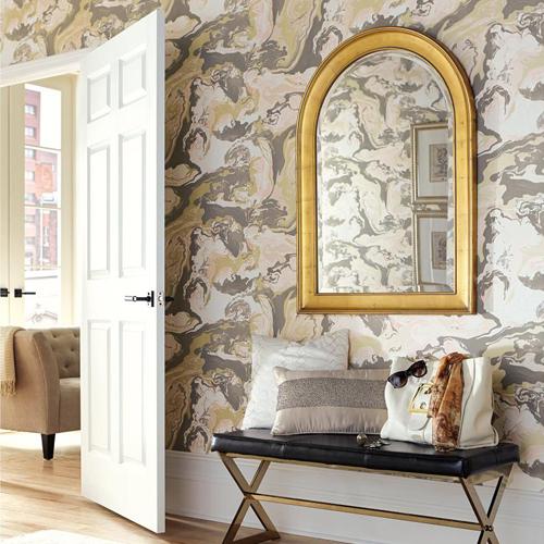 York Wallcoverings Dwell Studio Medici Marble Wallpaper Room Setting