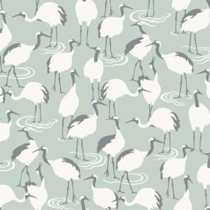 DR6356 York Wallcoverings Dwell Studio Winter Cranes Wallpaper Aqua