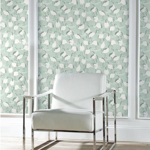York Wallcoverings Dwell Studio Winter Cranes Wallpaper Room Setting