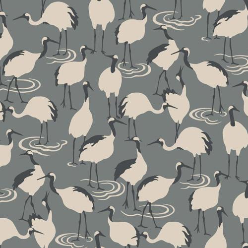 DR6359 York Wallcoverings Dwell Studio Winter Cranes Wallpaper Charcoal