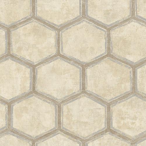 MW31505 Seabrook Designs Metalworks Wright Geometric Wallpaper Beige