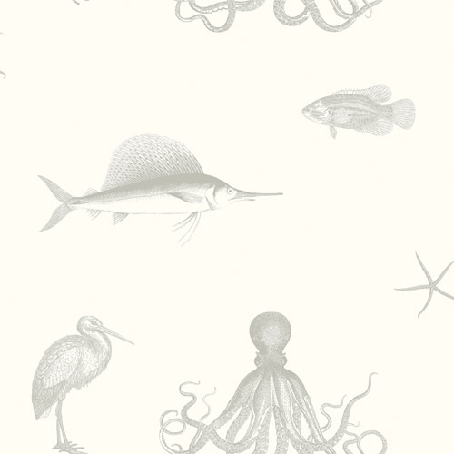 3113-12013 Brewster Wallcoverings Chesapeake Seaside Living Oceania Sea Creatures Wallpaper Gray