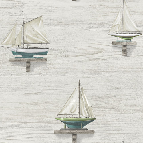 3113-12022 Brewster Wallcoverings Chesapeake Seaside Living Set Sail Wallpaper White