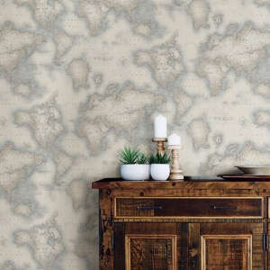 Brewster Wallcoverings Chesapeake Seaside Living Mercator World Map Wallpaper Room Setting