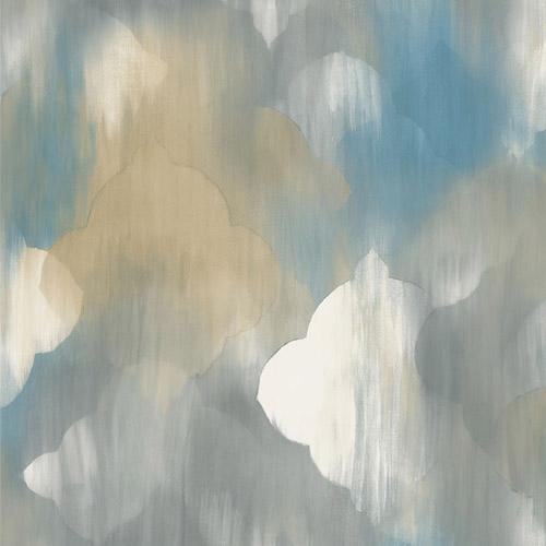 AH40302 Seabrook Wallcoverings L'Atelier de Paris Watercolor Ogee Medallion Wallpaper Blue