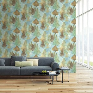 Seabrook Wallcoverings L'Atelier de Paris Watercolor Trees Wallpaper Room Setting
