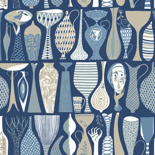 WV1759 Brewster Wallcoverings Scandinavian Designers 2 Folk Pottery Wallpaper Blue
