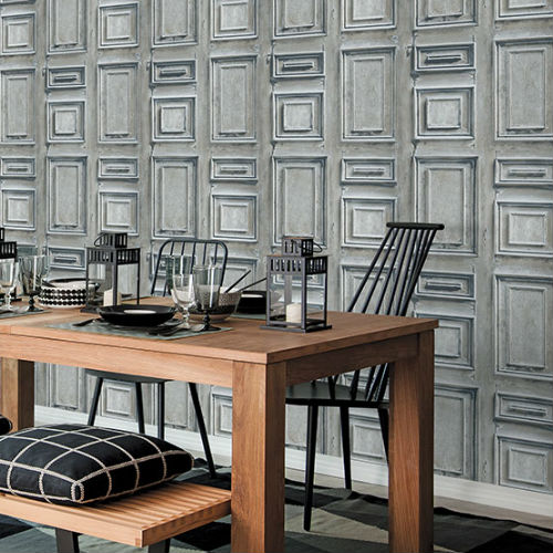Patton Wallcoverings Norwall Illusions 2 Rustic Wood Panel Wallpaper Room Setting 2