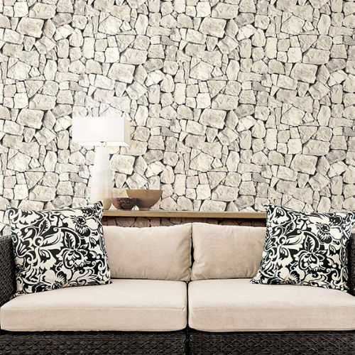 Patton Wallcoverings Norwall Illusions 2 Tumbled Stone Wallpaper Room Setting