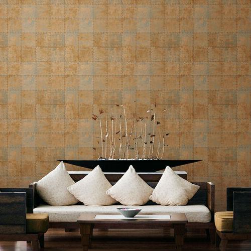 Patton Wallcoverings Norwall Illusions 2 Rustic Tin Wallpaper Room Setting