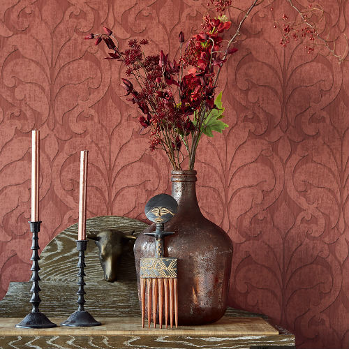 Brewster Wallcovering Eijffinger Siroc Damask Vallon Wallpaper Room Setting