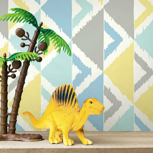 Seabrook Wallcoverings Playdate Adventure Dino Peak Wallpaper Room Setting