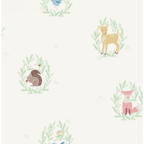 FA41105 Seabrook Wallcoverings Playdate Adventure Furry Friends Wallpaper Off-White