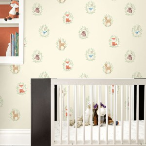 Seabrook Wallcoverings Playdate Adventure Furry Friends Wallpaper Room Setting