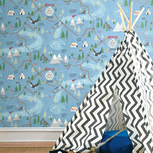 Seabrook Wallcoverings Playdate Adventure Campground Wallpaper Room Setting