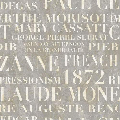 FI70307 Seabrook Wallcoverings French Impressionist Signet Script Wallpaper Gray