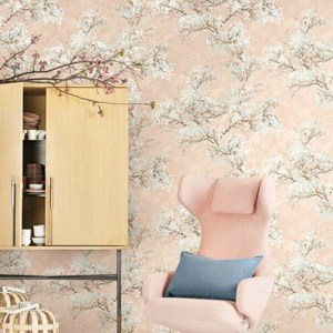 Seabrook Wallcovering French Impressionist Cherry Blossom Wallpaper Room Setting