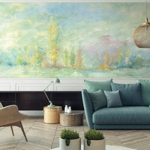 Seabrook Wallcoverings French Impressionist Rolling Hills Mural Room Setting