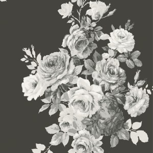 ME1533 York Wallcoverings Joanna Gaines Magnolia Home 2 Tea Rose Wallpaper Black